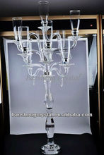 Tall 9 Arms Crystal Wedding Decorative Candelabra with Votives Lampshades (BS-CH090)