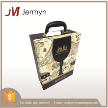 New design luxury high quality custom leather wine box with handle