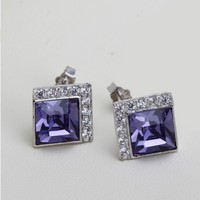 OUXI square violet 925 sterling Silver&crystal earrings for party Y20090