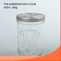16oz round glass wide-mouth jar with dog pattern carving and stainless lid