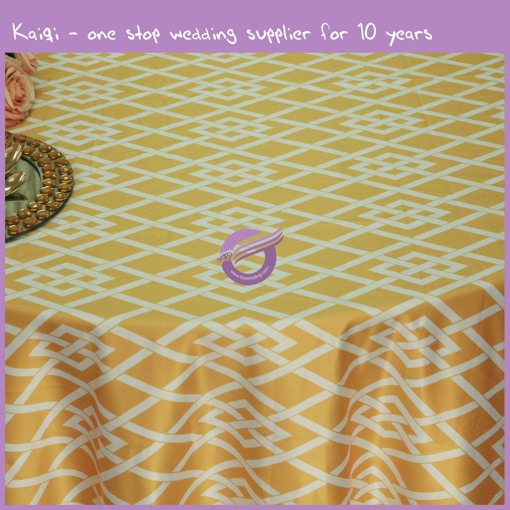 MY0021G new design diamond knot printed lamour gold satin table cloth for sale