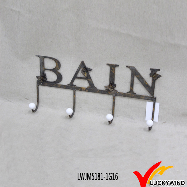 "Rustic ""BAIN"" Butterfly Decor Wall Letter Rack Hook"