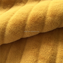 Gold PV Rabbit Fur Gap Vertical Bar Cutting Groove Colorful Faux Fur Fabrics Imitation Fur