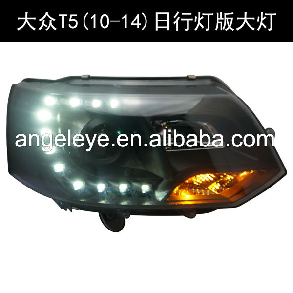 VW T5 Caravelle Multivan LED Angel Eyes Head Light with Projector Lens 2011-2014 year Smoke Black SN