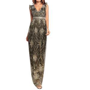 V-back fashion beaded sequin 1920s Vintage Art Deco women long dress  elegant formal evening d62a10765fa9