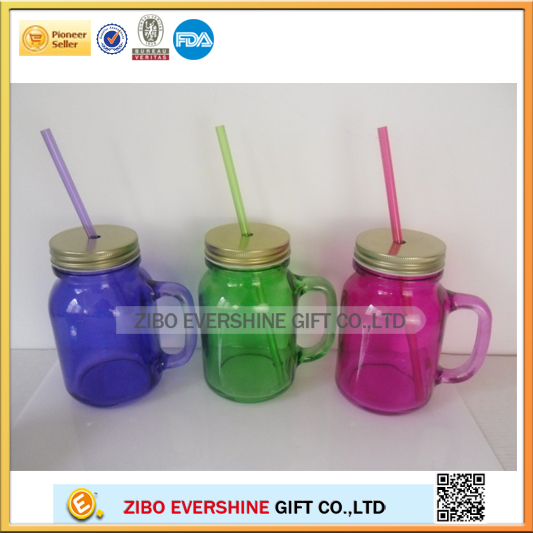 20oz colored glass mason jar with handle colors cover and straw