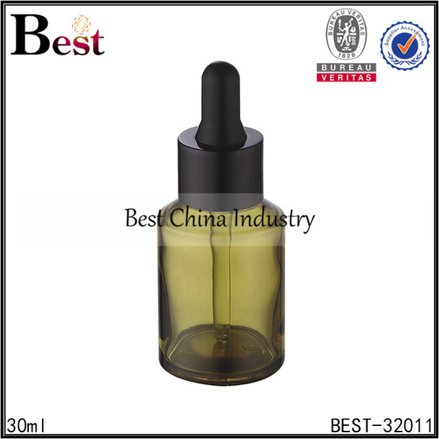 2017 factory stock products recyclable 30ml amber / brown glass cosmetic face serum dropper bottle