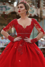 Sparkly 2017 Long Sleeve Lace Beaded Ball Gown Puffy Long Red Prom Dress MP948