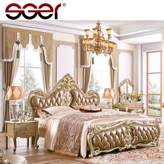New european style wooden frame cheap bed design