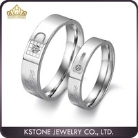 KSTONE Couple Rings Stainless Steel Love Key Lock Wedding Finger Bands Promise Ring