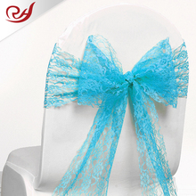 Baby Blue Satin Fabric Chair Cover Sash Bow Wedding Party Supplies Back light blue satin lace chair sashes