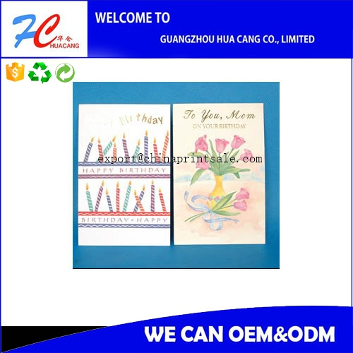 Handmade high quality art paper greeting cards with colorful printing