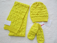 Fashion 100% Acrylic knitted cable scarf and hat sets for lady