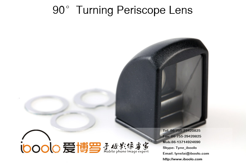 Black 90 degree periscope spy lens with optical glass for mobile phone camera