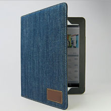 Newest design denim jeans leather case for ipad 4 16gb