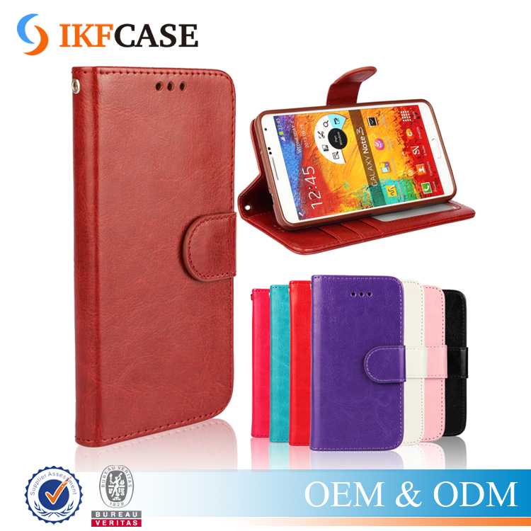 Wallet card holder leather case for Samsung galaxy note3,high quality crazy horse pu cell phone cover