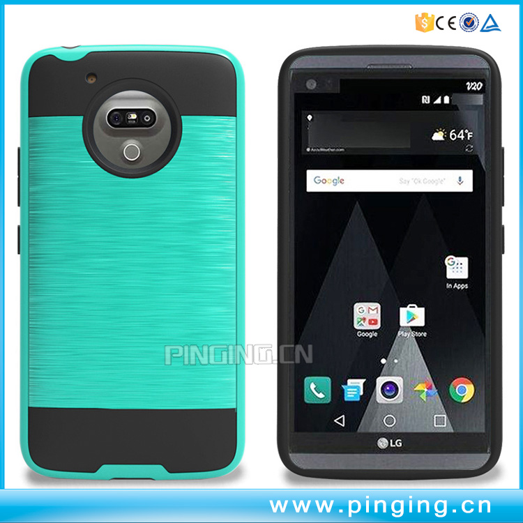 Dual layer tpu + pc brushed armor shockproof phone case for moto g5