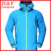 Cheap Softshell jacket mens high quality in sky blue with reversed zipper