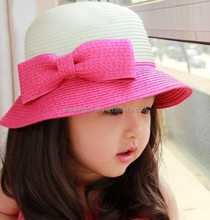 Baby Girl Pink Bow Hit Color Straw Crocheted Hat