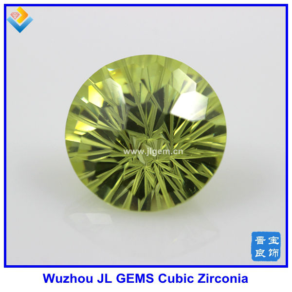 Lab Created Olive Yellow Round CZ Gemstones , Cubic Zirconia Beads with wholesale price