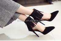 Pretty sexy girls shoes factory wholesale latest design tassel suede leather upper ladies shoes