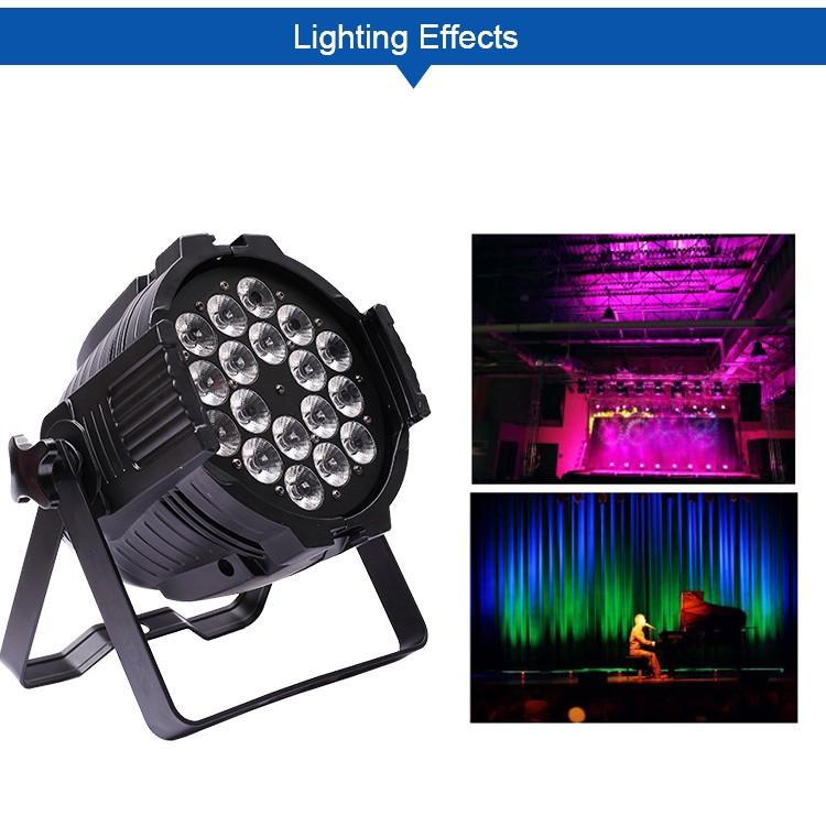 2017 best price dmx dj light led par zoom 18x18w rgbwa rgbaw uv led flat par light