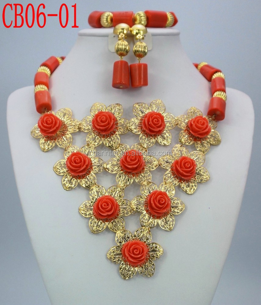 2015 hot sale african beads jewelry set/ european beads / coral beads made in China