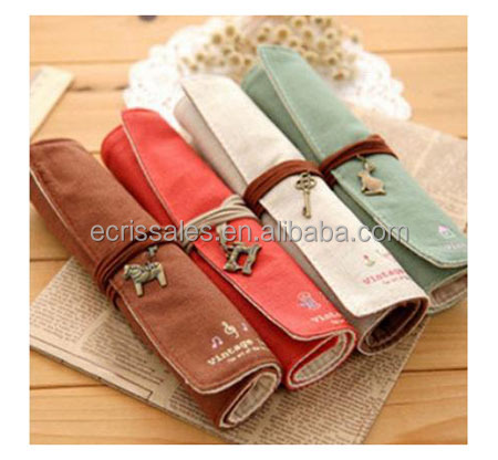Retro hardware modification on creative stationery bag, drawstring canvas bag student pen curtain