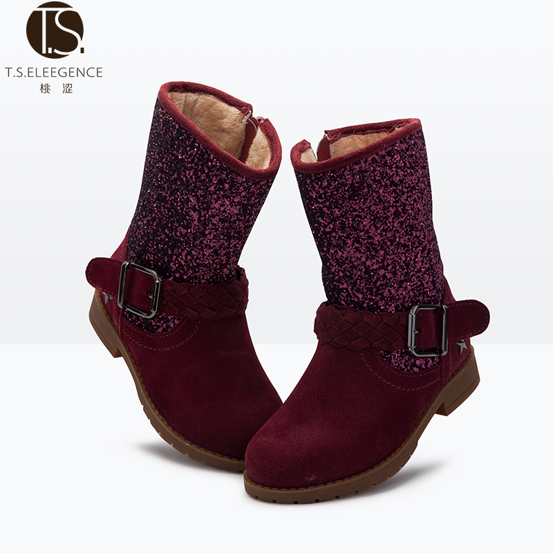 EU26-37 2016 New Look Children <strong>Boots</strong> Girls Kids infant Flat Snow <strong>Boots</strong> Genuine Leather Glitter Upper Material Winter <strong>Boots</strong> Shoes