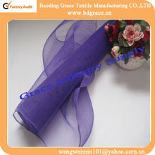dark purple wired stretch metallic mesh ribbon for wedding decoration