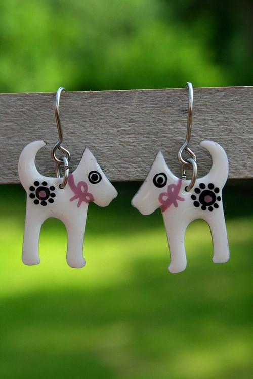 Hand-painted dog earrings, stainless steel