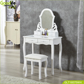 Vanity Table Set with Mirror 4 Drawers, Makeup Dressing Table with Cushioned Stool,white