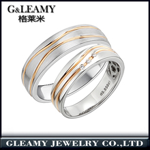 factory wholesaler classic two tone design 18k gold plated silver jewelry wedding band finger Rings for lover