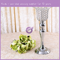 Stemmed Glass Tall Tulip Shaped Silver Crystal Candlesticks Candle Holders