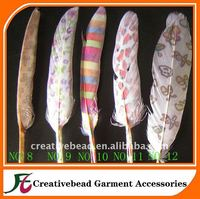 fashion dyed goose feather with motif