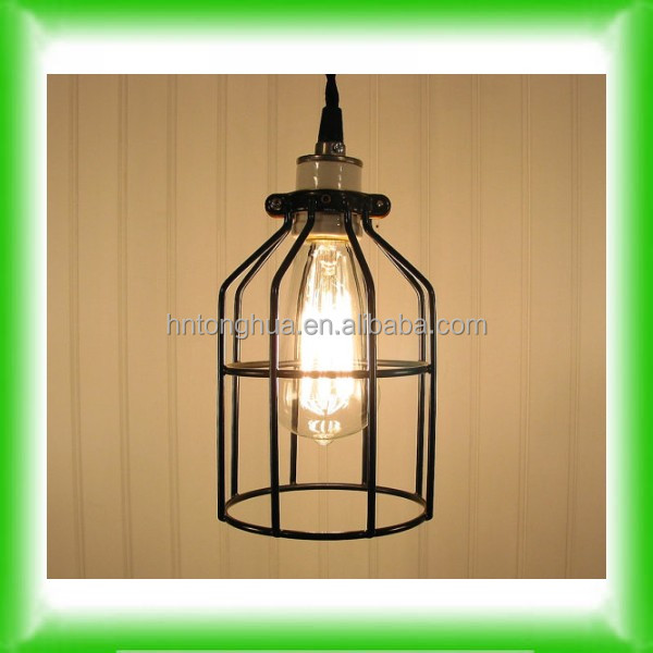 Vintage Industrial Edison Bulb Guard Cage Pendant Light Hanging Lamp