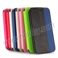 Dual-color Cross Design Flip Stand Card Slot Leather Case for Samsung Galaxy S5 I9600 G900