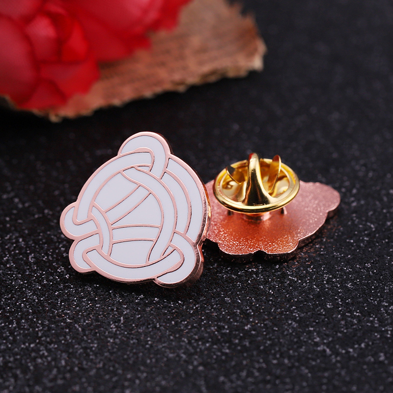 New design Custom rose gold metal enamel sports volleyball lapel pin badge