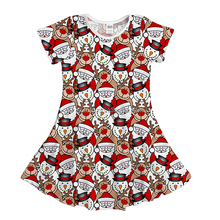 new wholesale cute customized print designed american kids little girls cotton summer dresses