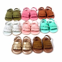 New Summer Candy Color Baby Tassel Baby Leather Sandal Soft Sole Infant Girls and Boys Shoes