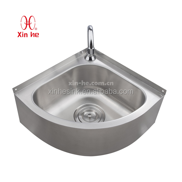 Wall Mounted Corner Stainless Steel Hand Wash Basin
