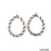 Vintage oval hoop gold earring leather wrap statement earrings