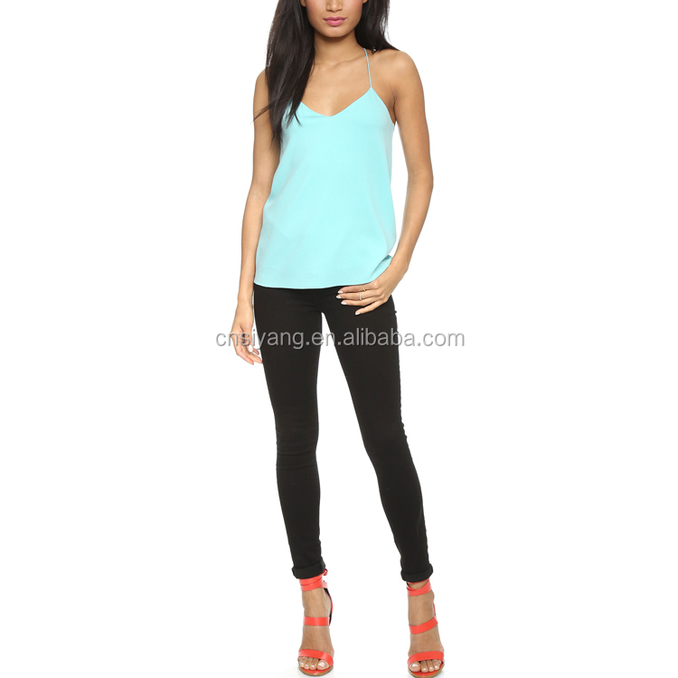 Dongguan Humen Women Clothing Manufacturer V Neck Stringer Tank Top Wholesale