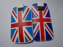 Flag Genuine Leather Pull Tab Pouch Case for Mobile Phone