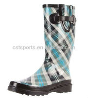 Beautiful Blue Check Rain Boots Shoes for Ladies