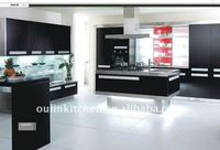 Brief and natural black wood solid wood kitchen cabinet