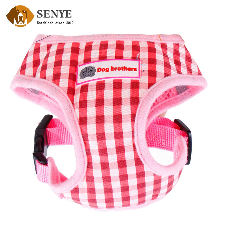 New Style Walking Dog Pet Suppiles Soft Dacron Puppy Plaid Harness