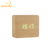 QingFeng factory led cube shape USB charging wooden alarm clock with digital number display temperature