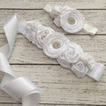Vintage White Sash & Headband Sets With Flower Sparkly Rhinestone Sash Belt For Bridal Wedding Accessory