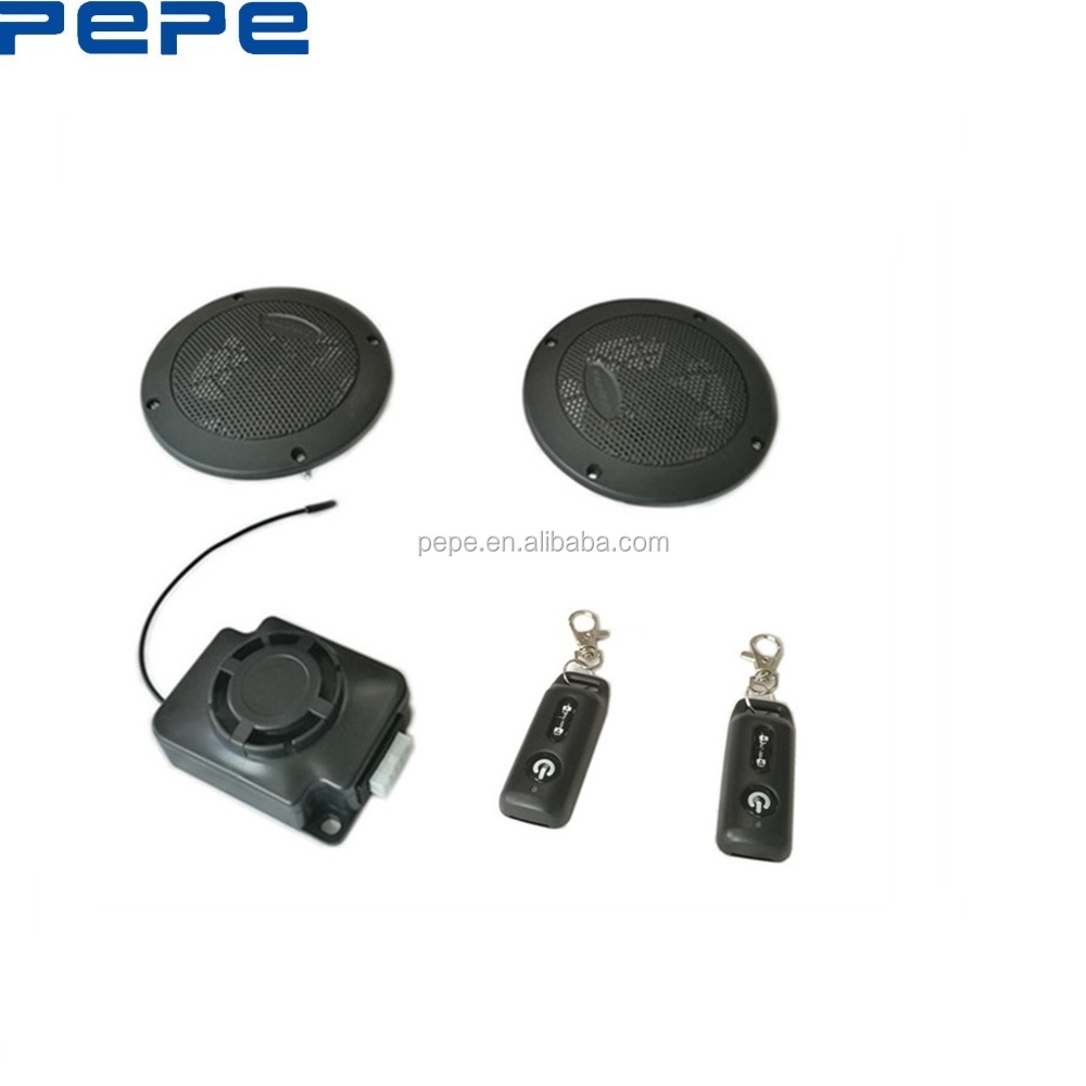 High quality motorcycle mp3 audio and security anti-theft alarm